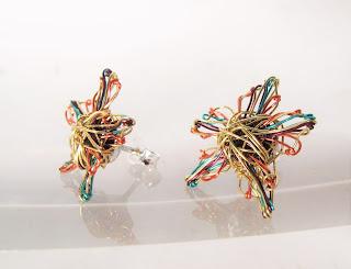 Wire art earrings, flower gold earrings