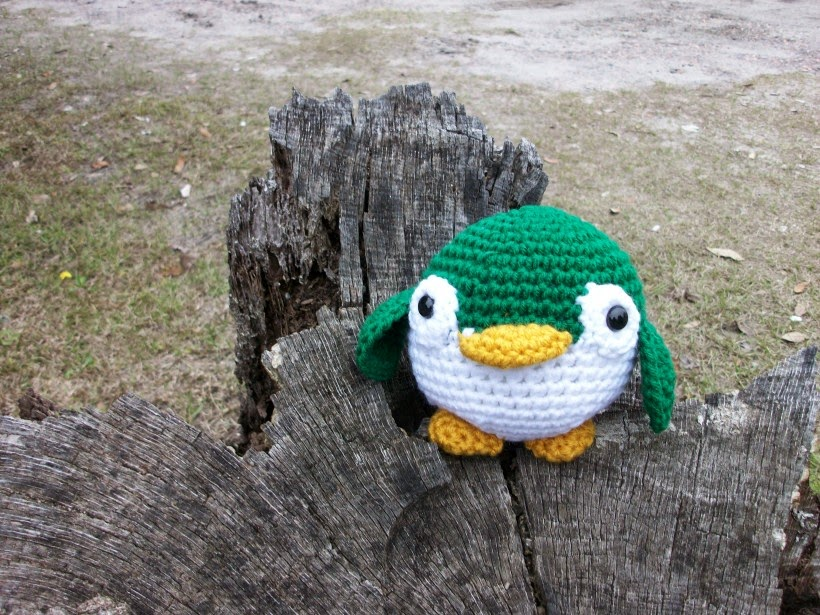 Handmade Plush Penguin in Irish Green