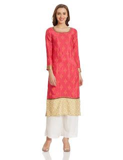 Red Golden W for Woman Kurta by  FashionDiya
