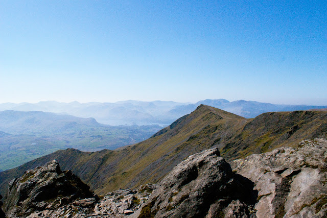 view from the summit of blencathra, looking towards keswick and derwent water, lake district