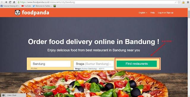 Klik Find Restaurant di Foodpanda