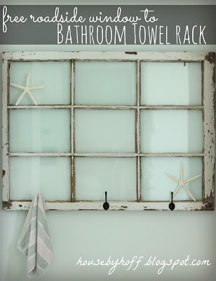 Towel Rack using Old Windows #towelrack #bathroom #oldwindows #vintagewindows #decorating #windows #decor