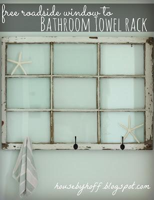 Towel Rack using Old Windows #towelrack #bathroom #oldwindows #vintagewindows #decorating #windows #decor