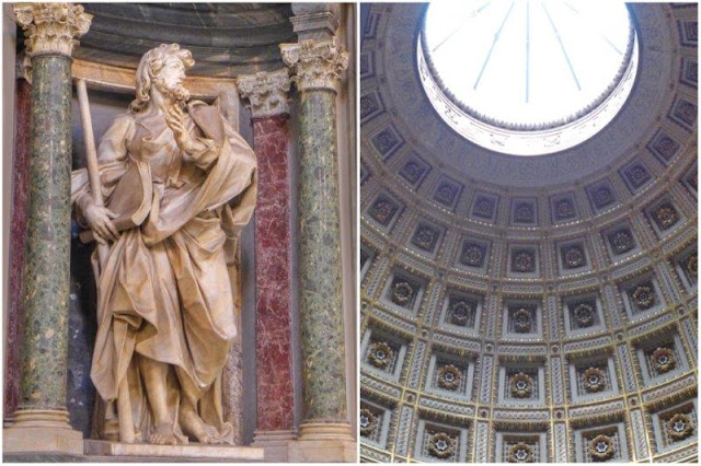 Estatua y cúpula dentro de San Giovanni in Laterano en Roma