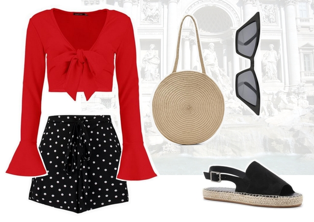 Want to wear zomer outfit met polka dot shorts rode strik top en ronde rotan rieten tas