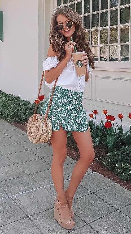 cute outfit idea for summer / white off shoulder top + green printed skirt + bag + platform sandals