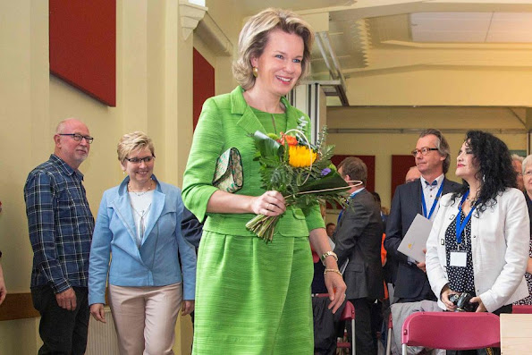Queen Mathilde attends ceremony of Federal Poverty Reduction Prize at the Public Centre for Social Welfare in Brussels. Natan Dress