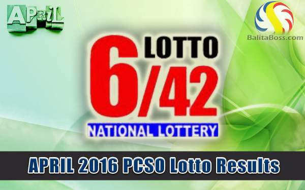 Image: April 2016 PCSO Lotto 6/42