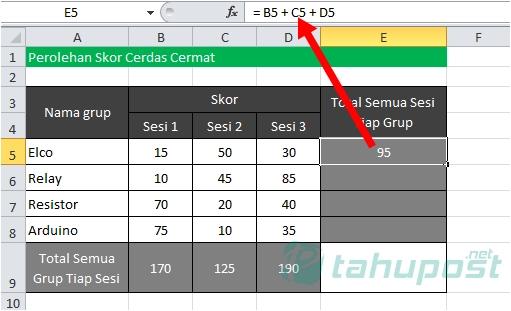 Rumus Excel Penjumlahan Antar Kolom