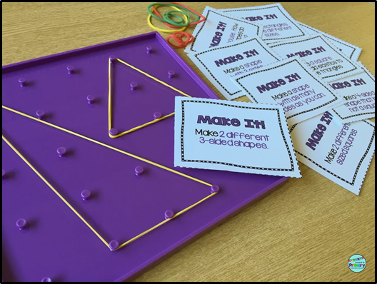 2D geometry centers with geoboards for first grade