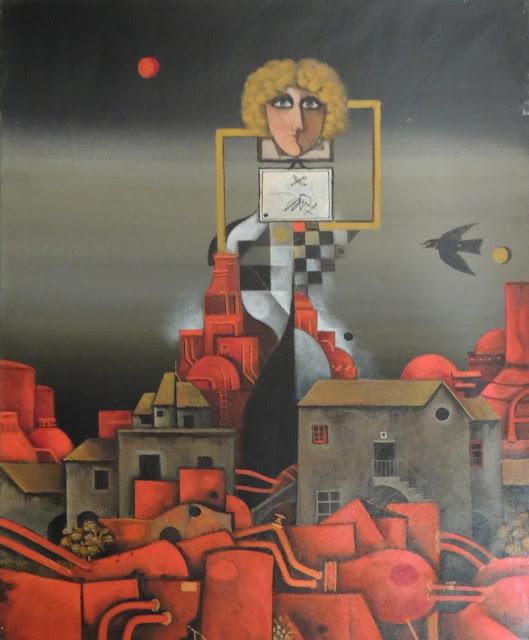 Eduard Alcoy obra arte acrílico lienzo surrealista paisaje urbano rojo guerra