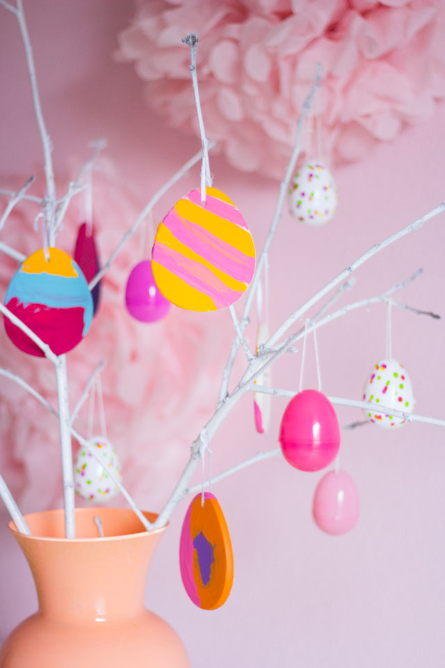 DIY Easter egg tree with colorful painted egg ornaments - such a fun kids' craft!