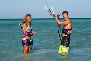 Bruno and Charlotte filming kitesurfing tricks