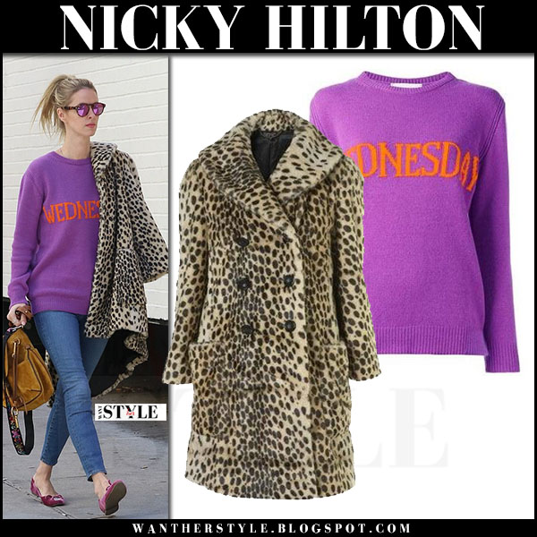 Nicky Hilton in purple knit sweater alberta ferretti and leopard print coat topshop what she wore