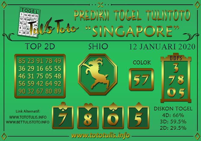 Prediksi Togel SINGAPORE TULISTOTO 12 JANUARI 2020
