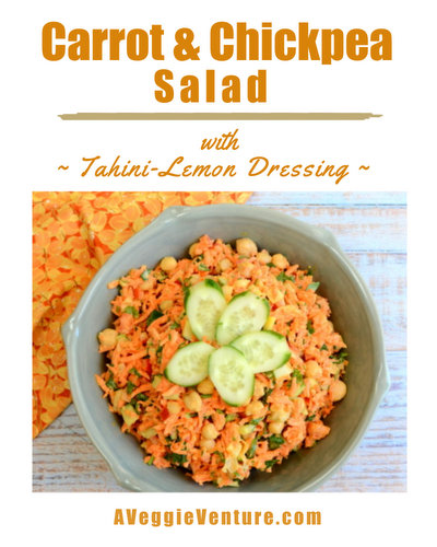 Carrot & Chickpea Salad with Tahini-Lemon Dressing, another healthy vegan salad ♥ AVeggieVenture.com. Low Carb. Low Fat. Weight Watchers Friendly. Great for Meal Prep. Gluten Free.
