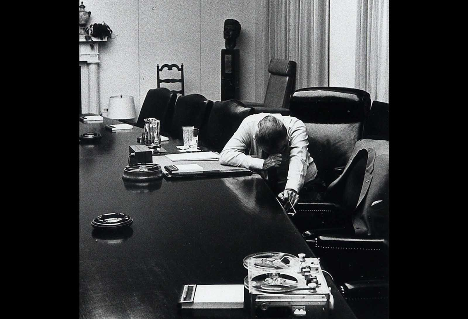 U.S. President Lyndon B. Johnson listens to a tape recording from his son-in-law Captain Charles Robb at the White House on July 31, 1968. Robb was a U.S. Marine Corps company commander in Vietnam at the time. Robb was later awarded the Bronze Star and, after returning home, became governor of Virginia in 1982, and later a senator for the same state.