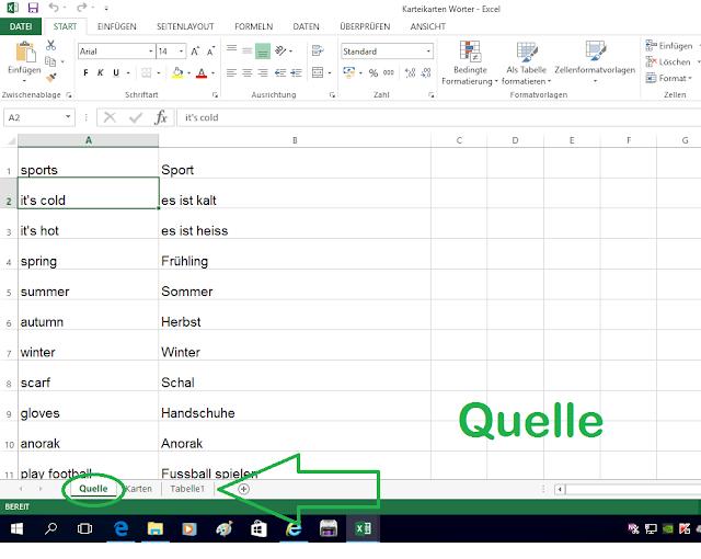 Quelldatei im Excel für Karteikarten