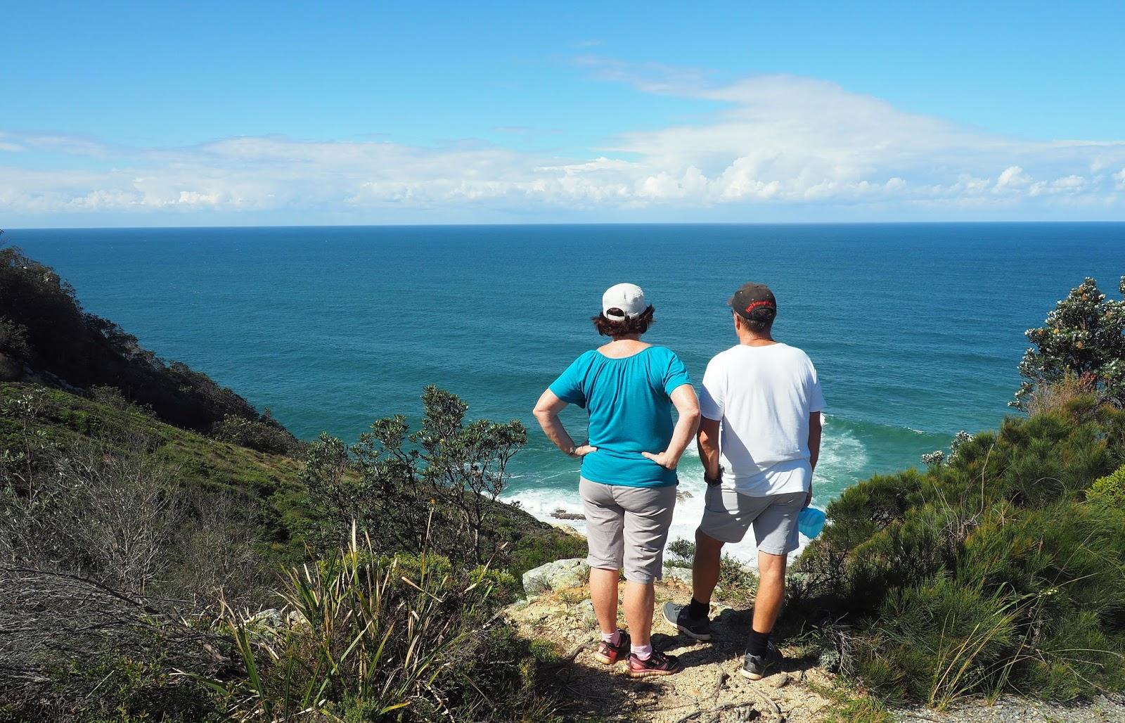 Couple looking out at Sea Diamond Head Loop Walk