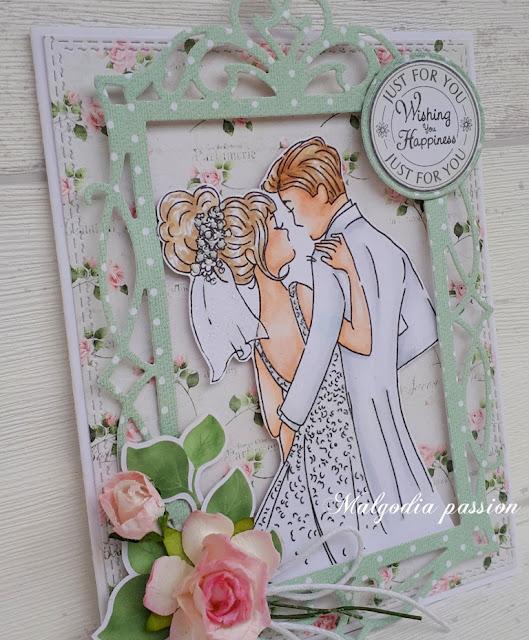 Kartka ślubna z Młodą Parą