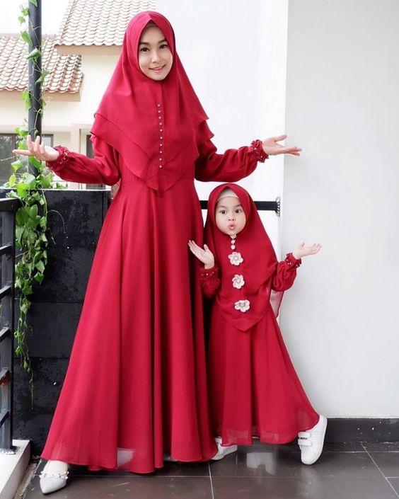 15 Model Baju Gamis Couple Ibu dan Anak Untuk Lebaran 2019