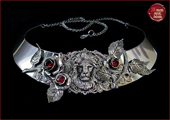 collier La Belle et La Bête Jean Cocteau The Beauty and The Beast Necklace Lion Red Rose True Love French Fairytale jewelry