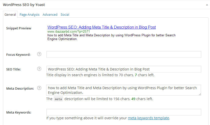 wordpress seo adding meta title and description in blog