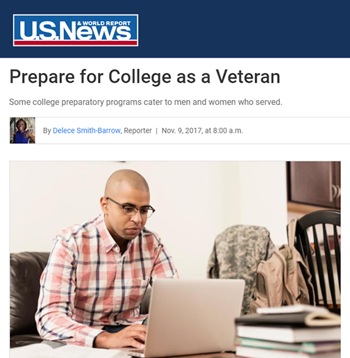 snapshot from online story, featuring an image of a young man working on a laptop at home.  Text: Prepare for College as a Veteran