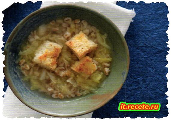 Zuppa di farro, verza e crostini