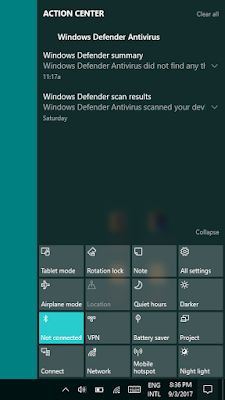 central notification on windows 10