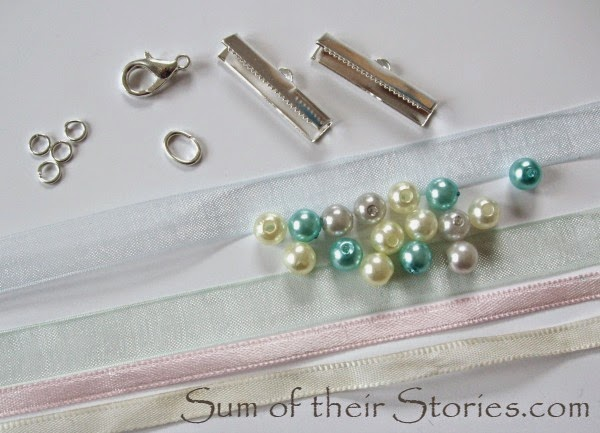 What you need for a ribbon and bead bracelet