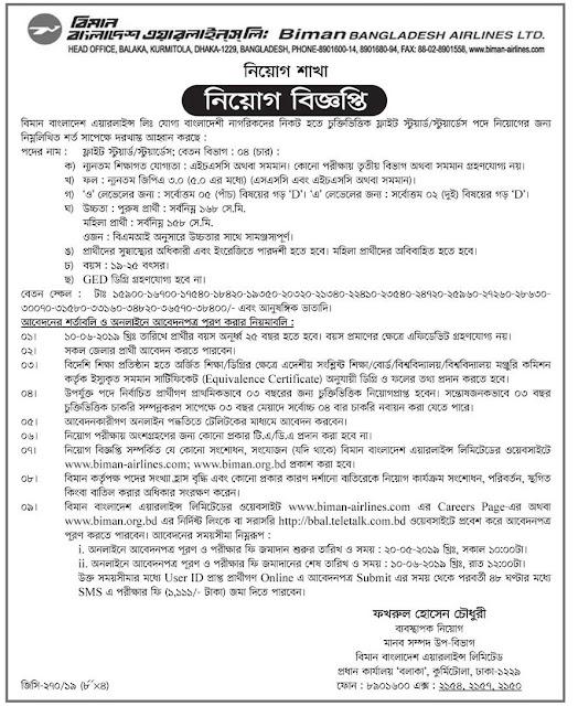 Job Circular 2019-Biman Bangladesh Airlines Ltd Image