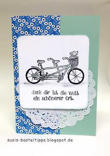 Stampin Up karte mit hund im Fahrradkorbstempelset gemeinsam stark