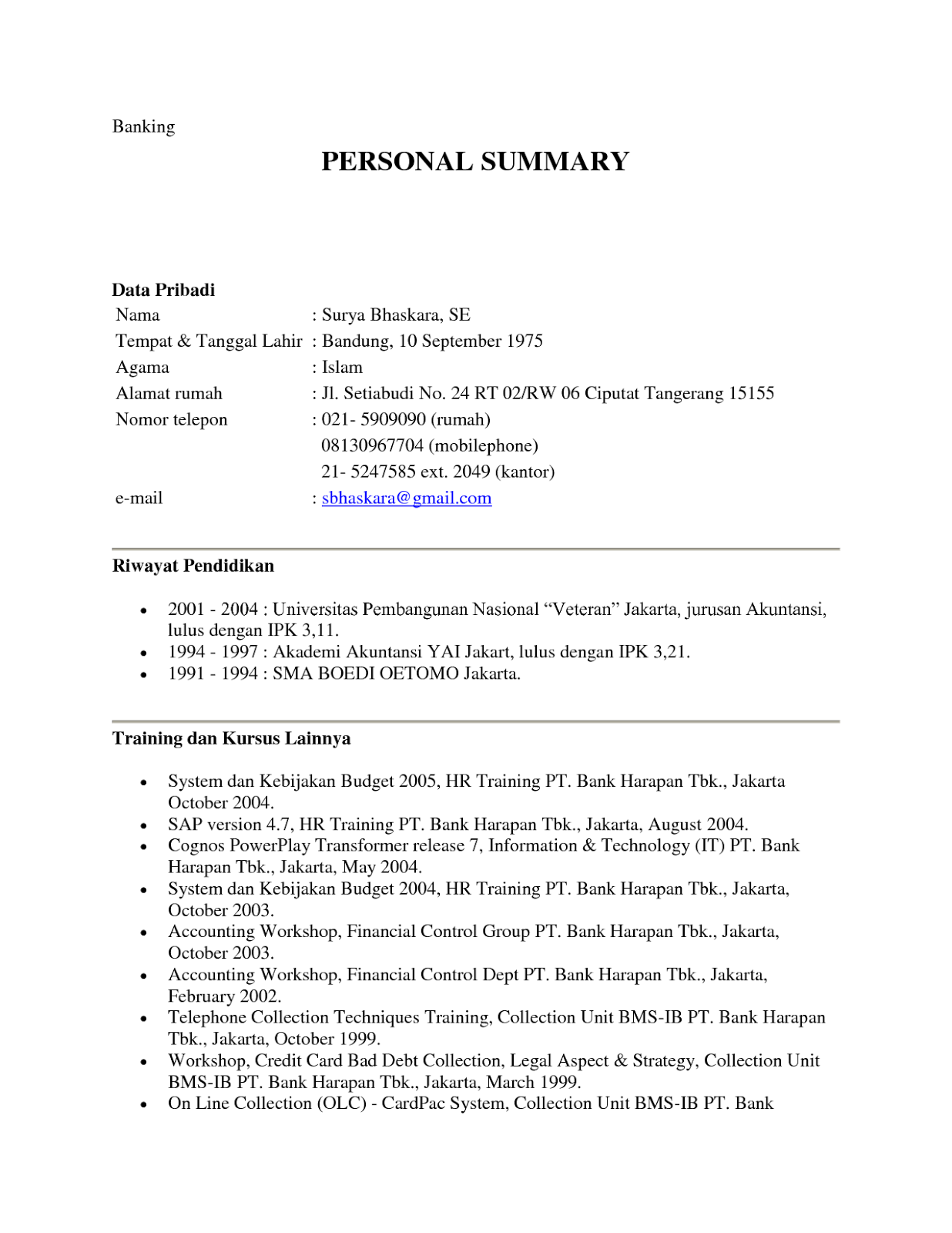 Contoh Curriculum Vitae Guru Free Resume Examples Samples For