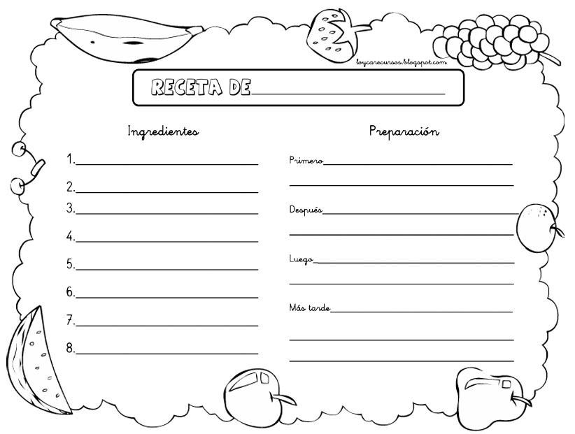 Recursos de educaci n infantil plantillas para realizar for Plantillas de cocina