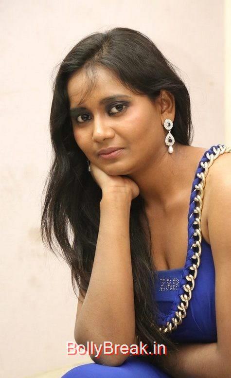 Anusha Photos, Anusha Hot Pics in Blue Dress