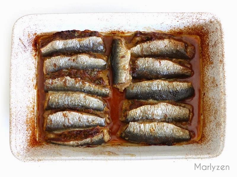 Sardines farcies à la chermoula après cuisson.