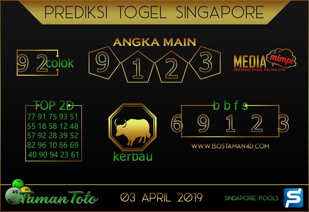 Prediksi Togel SINGAPORE TAMAN TOTO 03 APRIL 2019