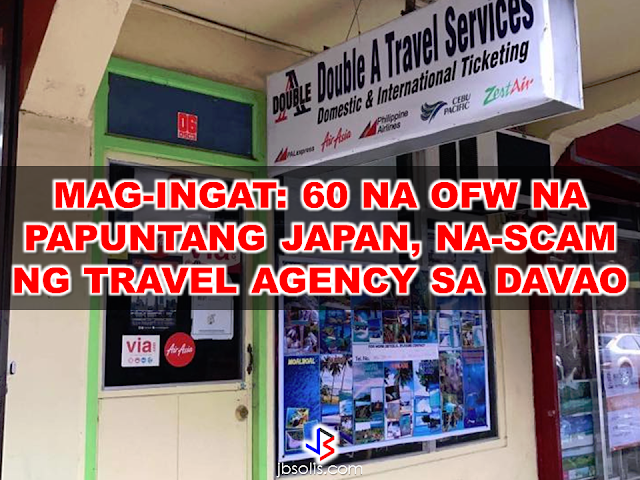 "BEWARE!  Some scammers are taking advantage of the popularity of job opportunities to  Japan.  Sixty OFWs who are supposed to travel to work in  Japan has been victimized by a fraudulent travel agency in Davao City. Their tickets was booked on January 5 but the owner of Double A Travel Agency, Arlyn Llurca Palantar failed to provide the payment ,thus, the 60 OFWs could not travel to Japan for their deployment. The travel agency owner got away with over P800,000 from the victims.  Double A Travel Agency was located at Door 6, Doña Segunda Building, Davao City but when the victims went there with the police, it was already closed down.  Alvin Zulueta, one of the scammed passengers, said they were supposed to fly from Davao City to Manila on January 6 at 9:20 a.m. and from Manila to Narita, Japan at 2:50 p.m. but they found out at the airport that their flight was not booked. Zulueta Said that they were doing transaction with the same travel agency before and it is the first time that it happened. The police investigation found out that the travel agency's accreditation with Department of Tourism was expired since 2015.       Meanwhile, OFW remittances from Japan increased by 11.5 percent in 2016 to reach $1.4 billion, comprising 5.1 percent of the total remittances of $26.9 billion for the year, after dropping 14 % on the previous year, according to the Philippine Central Bank data.  ""Since remittances are reported in US dollars, remittances from Japan when converted to US dollars increase as the yen appreciates,"" Rosabel B. Guerrero, the director of the Central Bank's department of statistics said.  ""Another factor that could contribute to higher remittances is the increase in the number of overseas Filipinos remitting to the Philippines,"" Guerrero added.  A steady increase of Filipino workers in Japan has been recorded annually from 2010 to 2015, but the government tally of the total numbers are yet to be completed.  According to Philippine Overseas Employment Administration (POEA), the number of Filipinos working in Japan increased 10.5 percent in 2015, despite accounting only for 1 percent of the recorded total deployment.  ""The increase in deployment could be due to increasing demand for foreign workers to fill in the labor shortage,"" Guerrero added, citing reports that Japan is looking to fill in more jobs through  hiring foreign labor force including OFWs.  In 2016, remittances from Japan ranked as the second largest remittance to the Philippines by workers in Asian countries, surpassed only by those from Singapore, where remittances reached a total of $1.7 billion.  Remittances from the United States were highest at $8.9 billion, followed by Saudi Arabia at $2.6 billion and the United Arab Emirates at $2.2 billion."