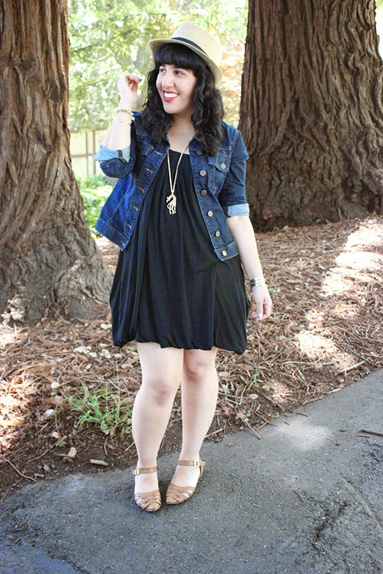 LE TOTE Denim Jacket x Black Dress