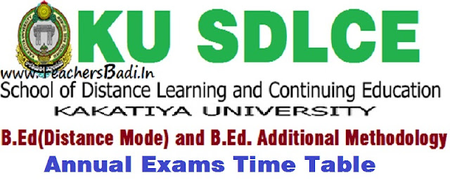 KU SDLCE,B.Ed Annual Exams, Time Table
