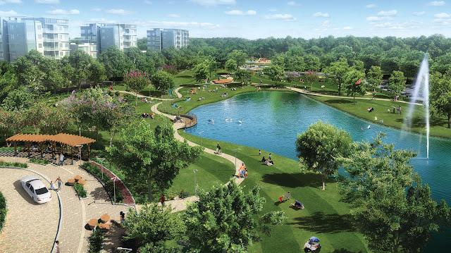 Khuôn viên xanh cùng hồ nước trong khu đô thị Louis City