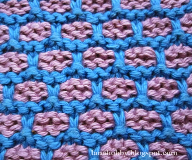 Two Color Bricks Stitch Knitting Pattern- Slip Stitch Brick Pattern