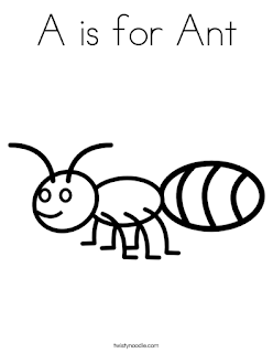 Alphabet A is for Ant Animal Coloring Pages
