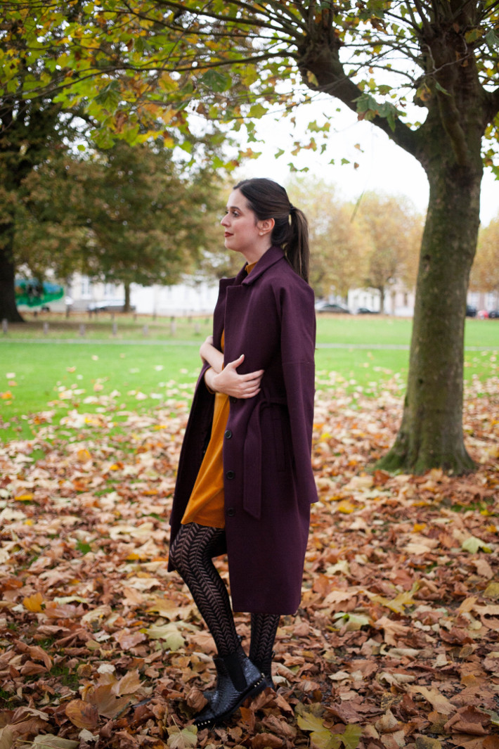 Outfit: gold velvet dress, eggplant robe coat, crochet tights