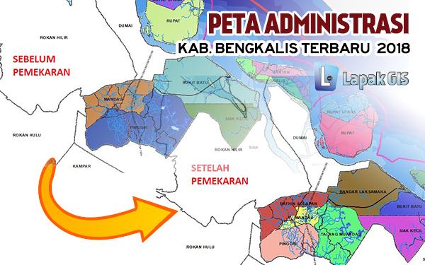 Peta Administrasi Bengkalis Setelah Pemekaran Terbaru
