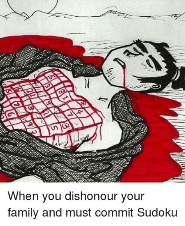 Commit Sudoku Family Dishonour Cartoon Joke Picture