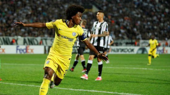 Willian celebrates Chelsea goal
