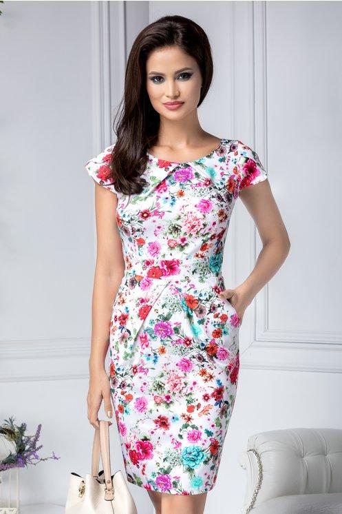 Rochie midi alba de zi cu flori colorate si buzunare