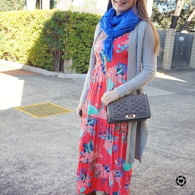 awayfromblue instagram | tropical print tiered maxi dress blue shawl scarf cardigan love bag